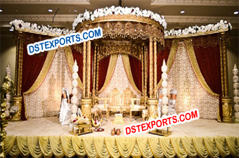Gujrati Wedding Wooden Carved mandap Set