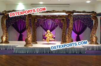 Wedding Wooden Carved Peacock Mandap