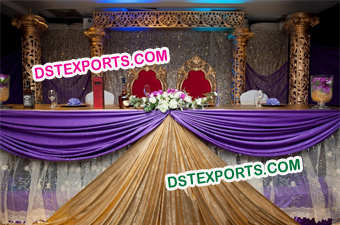 Wedding Golden Stage With Embroidered Backdrop