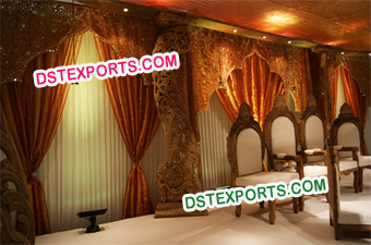 Indian Wedding Wooden Carved Pillars Stage