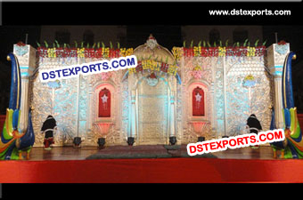 Indian Wedding Carved Stage Backdrop Panels