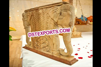 Indian Wedding Wooden Elephant Statue