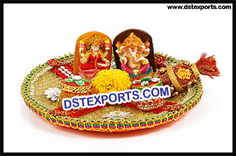 Zari Net Decorated Pooja Thali