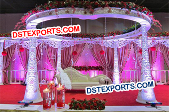 Wedding Carved Floral Mandap Set