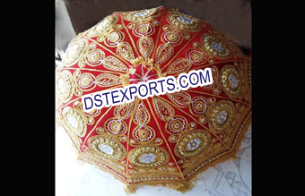 Wedding Embroided Redish Golden Umbrella