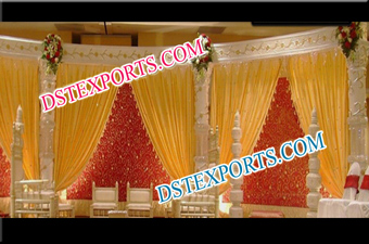 New Wedding Golden Carved Stage