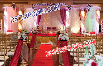 Indian Wedding Golden Pink Crystal Mandap