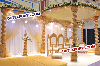Indian Wedding Spiral Wooden Mandap Set