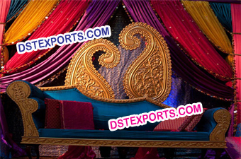 Indian Wedding Paisley Mehndi Stage Decoration