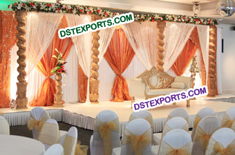 Wedding Open Wooden Pillars Stage