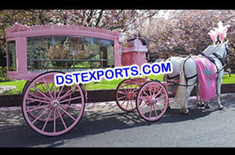 Latest Pinkish Funeral Horse Carriage