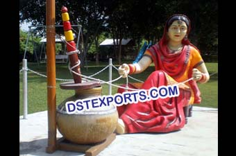 Punjabi Traditional Lady Statue With Madhani