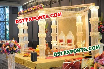 Wedding Six Crystal Pillar Mandap Set