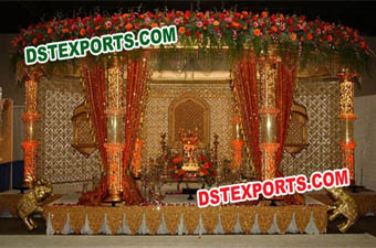 Indian Wedding Golden Crystal Stage Decoration
