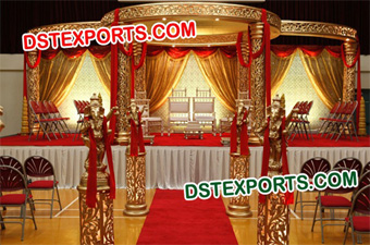 Hindu Wedding Golden Carved Mandap Set