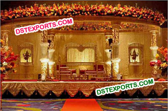 Wedding Gold Carved Crystal Mandap Set