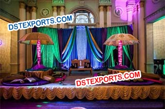 Sikh Wedding Night Mehndi Stage Set
