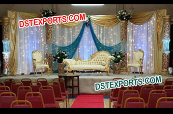 South Asian Wedding Gold Crystal Stage