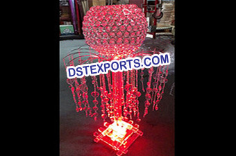 Wedding Lighted Globe Crystal Pillar