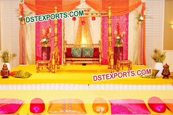 Mehndi Stage Golden Jhula Decoration