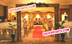 WEDDING GOLDEN FIBER MANDAP SET