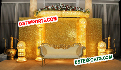 ASIAN WEDDING BEAUTIFUL GOLD STAGE SET