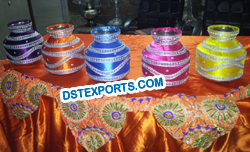 INDIAN WEDDING COLOURFUL DECORATED POTS
