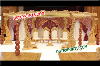 Wedding Wooden Carved Mandap Set
