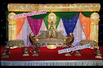 Indian Wedding Jewel Gold Crystal Stage