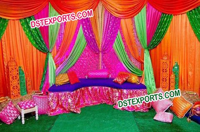 Beautiful Mehandi Stage Colourful Backdrop