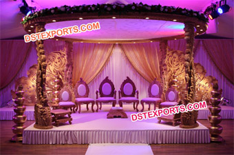 Indian Vivah Wooden Peacock Mandap Set