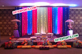 Colourful Mehndi Backdrop For Wedding