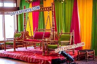 Indian Wedding Golden Jhula Set Stage