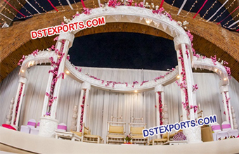 Wedding White Six Pillars Wooden Mandap