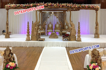 Indian Wedding Wooden Elephant Mandap