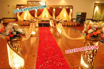 Latest Hindu Wedding Gold Crystal Stage