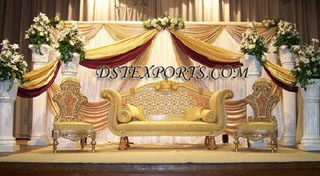 Asian Wedding Stage With Golden Carving Furnitures