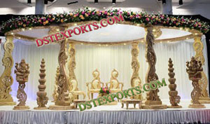 Wedding Peacock Pillar Wooden Mandap