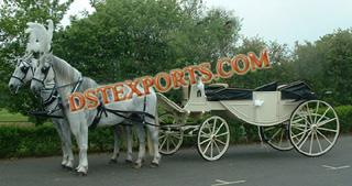 White Ivory Wedding Horse Drawn Carriage