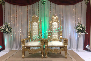 Wedding Golden Bride Groom Chair Set