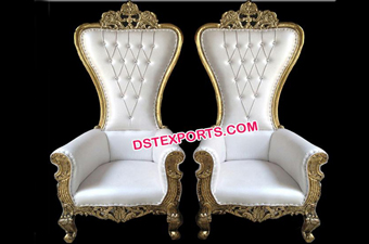 Brass Metal Bride Groom Chairs Set For Wedding