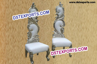 Latest Wedding Silver Metal Leaf Chair Set
