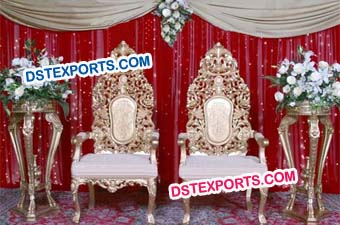 Muslim Wedding Heavy Carving Latest Chair Set