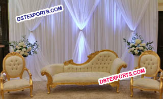Wedding Reception Stage With Golden Sofa