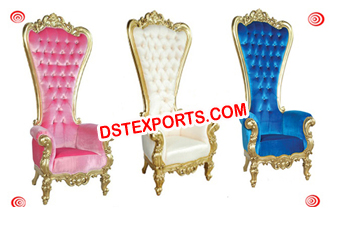 Royal Wedding Gold Metal High Back Designer Chair