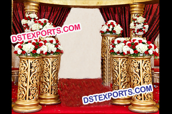 Indian Wedding Golden Fiber Pillars