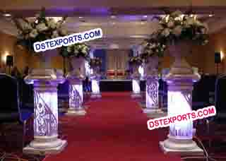 Wedding Aisleyway Crystal Pedestals