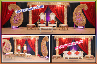 Wedding Fiber Crystal Pillar Paisley Wedding Stage