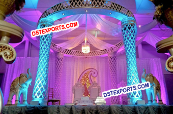 Fiber Wedding Mandap Pillar Decoration