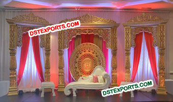 Bollywood Wedding Gold Stage Set